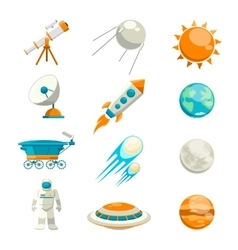 Flat space icon set vector