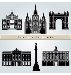 Barcelona landmarks and monuments vector