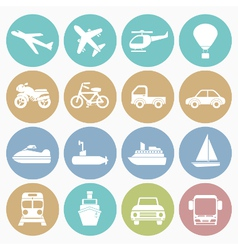 White icons vehicle vector