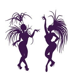 Silhouettes of attractive samba queen vector