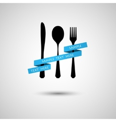 Cutlery with ribbon vector