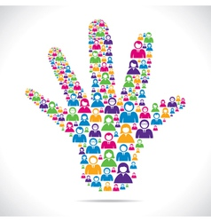 Open hand with group of people stock vector