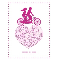 Pink flowers lineart couple on tandem bicycle vector