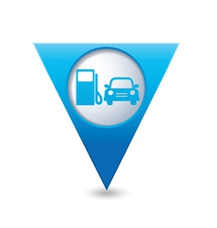 Petrol station and car4 blue triangular map vector