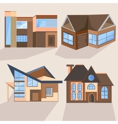 Houses cottages buildings villas architecture vector