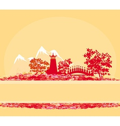 Old paper with asian landscape vector
