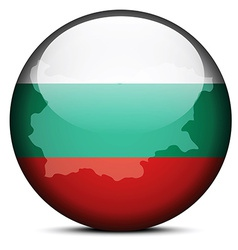 Map on flag button of republic of bulgaria vector