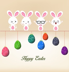 Easter eggs and bunny on wire vector