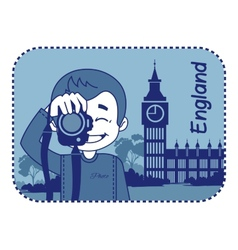 Teaser with photographer travels through england vector