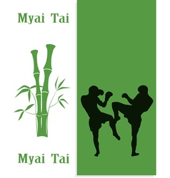 The two men are engaged in myai tai vector