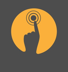 Icon with hand finger press on touchscreen vector