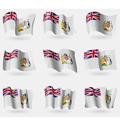 Set of british antarctic territory flags in the vector