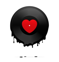 Melted vinyl record with heart vector