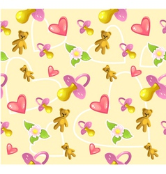 Seamless baby pattern with pacifier heart teddy vector
