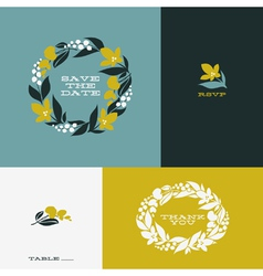 Floral wreath set of beautiful flat design element vector