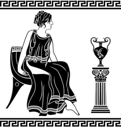 Ancient greek woman sitting on a chair vector