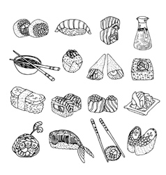 Asia food sushi icons set vector