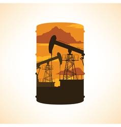 Oil barrel silhouette double exposure effect vector