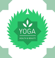Floral logo template for yoga or fitness class vector