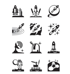Aerospace mission set of icons vector