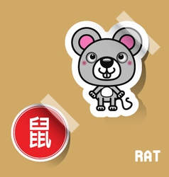 Chinese zodiac sign mouse sticker vector