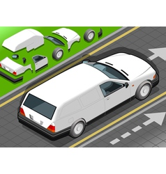 Isometric white station wagon car vector