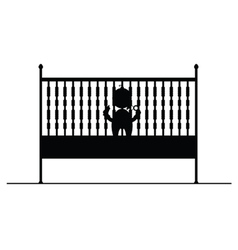 Baby in crib symbol and icon vector
