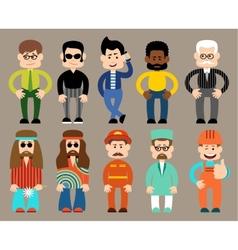 Set of flat men different professions vector