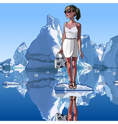 Fashionable woman is standing on an ice floe vector