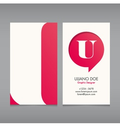 Business card template letter u vector