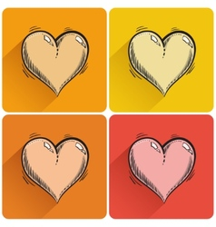 Set of drawn heart icon vector