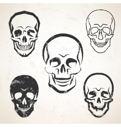 Skull sketches set in different styles vector