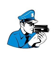 Policeman police officer speed camera vector