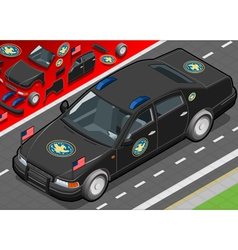 Isometric presidential limousine in front view vector