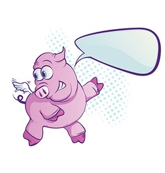 Flying pig cartoon vector