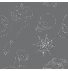 Halloween doodles seamless pattern vector