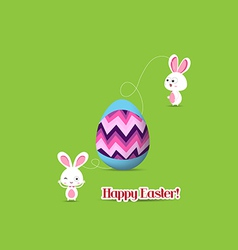 Easter egg connecting bunny together vector