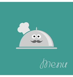 Silver platter cloche chef hat with eyes moustach vector