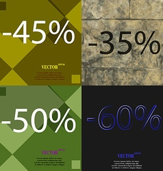 35 50 60 icon set of percent discount on abstract vector