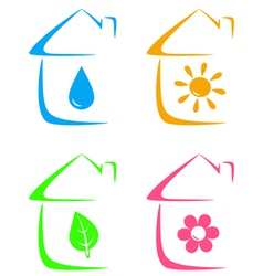 Icons of eco house heating and water supply vector