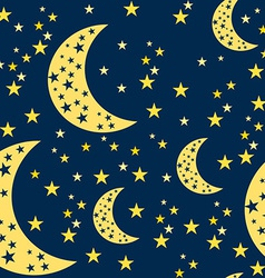 Night sky seamless pattern moon and stars vector