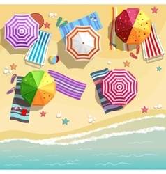 Aerial view of summer beach in flat design style vector
