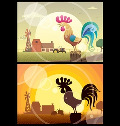 Rooster crowing vector