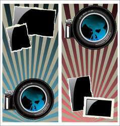 Lens and old photo frames vector