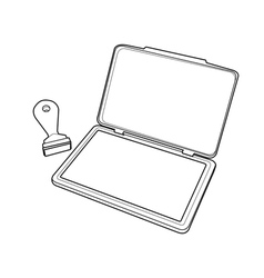 Ink pad with rubber stamp outline vector