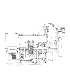 Hand sketch of an old building vector