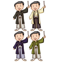 Simple sketches of men from asia vector
