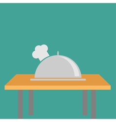 Silver platter cloche chef hat on the table flat vector