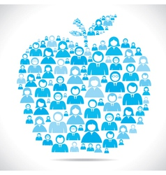 Group of people make apple shape stock vector
