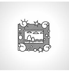 Black line icon for picture frame vector